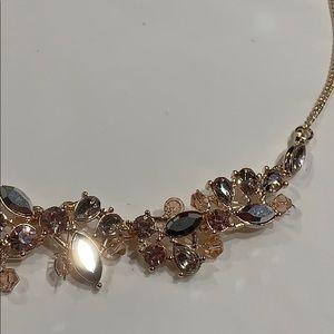 Jewelry - Vintage Style Rose Gold Rhinestone & Bead Necklace